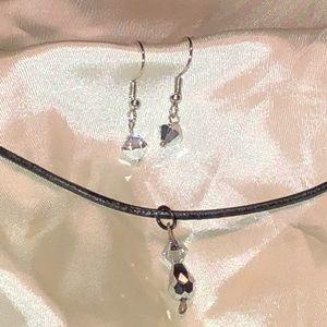 🆕Silver Swarovski crystal necklace & earrings New